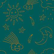 Illustration of star, sun, cloud, moon. Vector3 - stock illustration