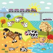 Children illustration farm animals Stock Illustration