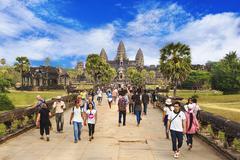 Tourists at Angkor Wat Temple in Siem Reap, Cambodia Stock Photos