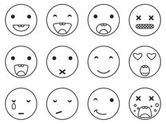 Outline round smile emoji set. Emoticon icon linear style vector - stock illustration
