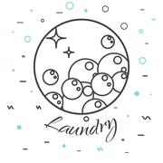 Laundry service logo badge. Soap bubbles icon - stock illustration