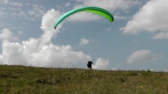 paraplane trying to fly, but was unable to catch the wind - stock footage