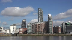 View of New Providence Wharf in London Docklands, UK. Stock Footage