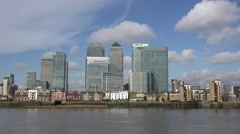 View of the Canary Wharf development in London Docklands, UK. - stock footage