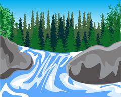 Waterfall on timber stream - stock illustration