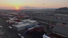 Sunrise Over Santo Tomas de Castilla Seaport With Sea Containers - stock footage