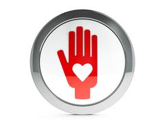 White hand with love icon with highlight - stock illustration