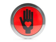 Black hand with love icon with highlight - stock illustration