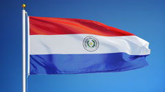 Paraguay flag in slow motion seamlessly looped with alpha Stock Footage