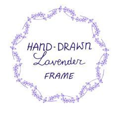 lavander frame hand drawn - stock illustration