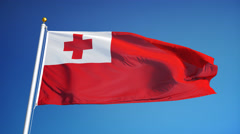 Tonga flag in slow motion seamlessly looped with alpha - stock footage