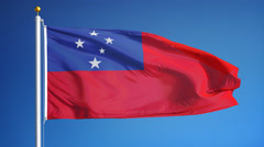 Samoa flag in slow motion seamlessly looped with alpha Stock Footage