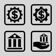 Banking Service Flat Squared Vector Icon Stock Illustration