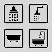 Bath Shower Flat Squared Vector Icon - stock illustration