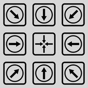 Direction Arrows Flat Squared Vector Icon - stock illustration