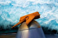 Anchor of a oil tanker - stock photo