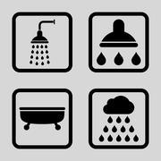 Shower Bath Flat Squared Vector Icon Stock Illustration