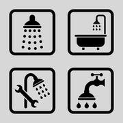 Shower Flat Squared Vector Icon - stock illustration