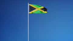 Jamaica flag in slow motion seamlessly looped with alpha Stock Footage