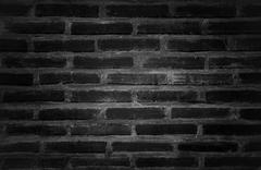 layer vintage bricks in black and white color - stock photo