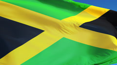 Jamaica flag in slow motion seamlessly looped with alpha - stock footage
