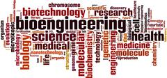 Bioengineering word cloud Stock Illustration