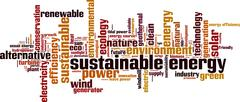 Sustainable energy word cloud - stock illustration
