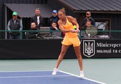 Fed Cup Tennis: Ukraine v Argentina in Kiev Stock Photos