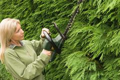 Woman trimming a hedge - stock photo