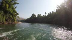 Thailand bamboo rafting trip in Kanchanaburi - stock footage