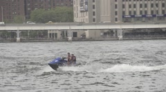 Jet Ski in New York Harbor Hudson River Slow Motion Stock Footage