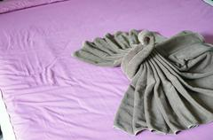 Brown towel plait as swan on pink bed Stock Photos
