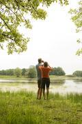 Couple birdwatching Stock Photos