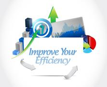 Improve Your Efficiency business graph sign concept - stock illustration