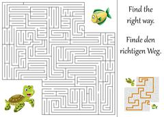 Enducation maze or labyrinth for children with turtle and fish Stock Illustration