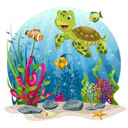 Turtle and fish in the sea Piirros