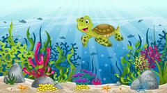 Illustration underwater landscape with turtle - stock illustration