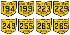 Collection of historic Ohio Route shields from 1920 used in the United States Stock Illustration