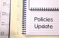 Policies update text concept - stock photo