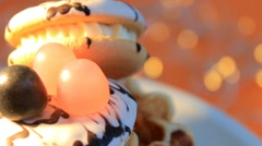 Orange background - White Cookies - Glow - 07 Stock Footage