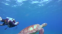 Diver swims next to green sea turtle (Chelonia mydas) Stock Footage