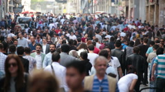 Crowd of people walking the streets. Istanbul/Taksim/Istiklal/April/2016 T.lapse Stock Footage