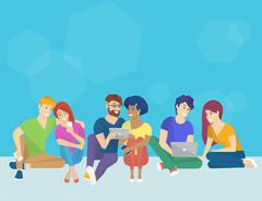 Group of creative people using smartphone, laptop and tablet pc sitting on the - stock illustration