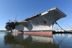 Aircraft Carrier at Phila Navy Yard - stock photo