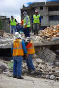 Quito, Ecuador - April,17, 2016: House destroyed by Earthquake with rescuers and Stock Photos