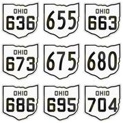 Collection of historic Ohio Route shields used in the United States Stock Illustration