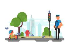 Police officer on the city street - stock illustration