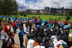 Quito, Ecuador - April,17, 2016: Unidentified citizens of Quito providing - stock photo