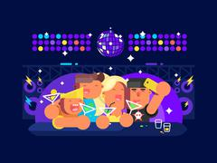 People in nightclub Stock Illustration