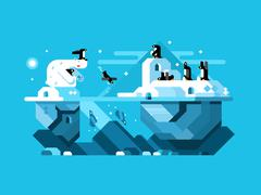 Arctic polar bear with penguins Stock Illustration